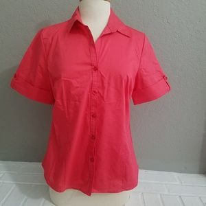 George short sleeve pink v neck button up blouse M